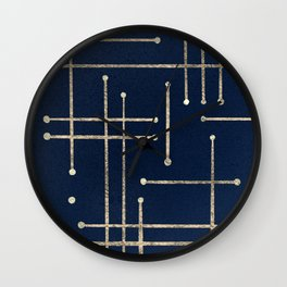Gold line pattern on navy Wall Clock