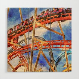 Fun on the roller coaster, close up Wood Wall Art