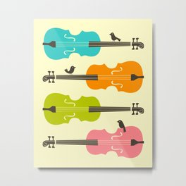 Birds on Cello Strings Metal Print