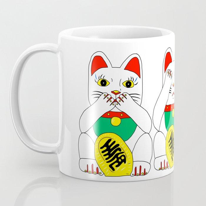 Three Wise Lucky Cats Coffee Mug