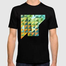 Abstract Geometric Tropical Banana Leaves Pattern T-shirt
