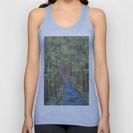 Deep in the Woods, Impressionism Landscape, Rustic Earth Tone Colors Unisex Tank Top