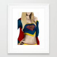 supergirl Framed Art Prints featuring Supergirl by Hallowette