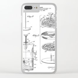 Coffee Filter Patent - Coffee Shop Art - Black And White Clear iPhone Case