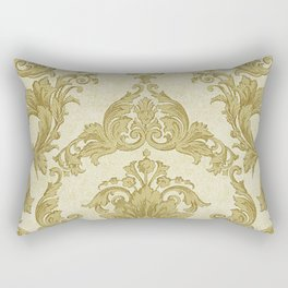 Gold Cream Paisley Floral Pattern Rectangular Pillow