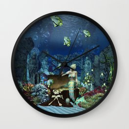 Wonderful mermaid with cute crab Wall Clock