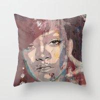 rihanna Throw Pillows featuring Rihanna by Bit of Art