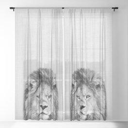 Lion 2 - Black & White Sheer Curtain