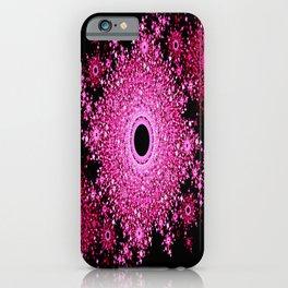 Floral Mosaic Mandala Pink & Black iPhone Case