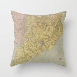 Vintage Map of Staten Island NY (1911) Throw Pillow