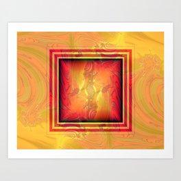 Vintage pattern orange red Art Print