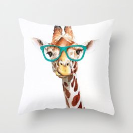Hipster Giraffe with Glasses Painting Throw Pillow