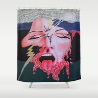 notebook Shower Curtains featuring She's a Bit Touched by Ana Lillith Bar