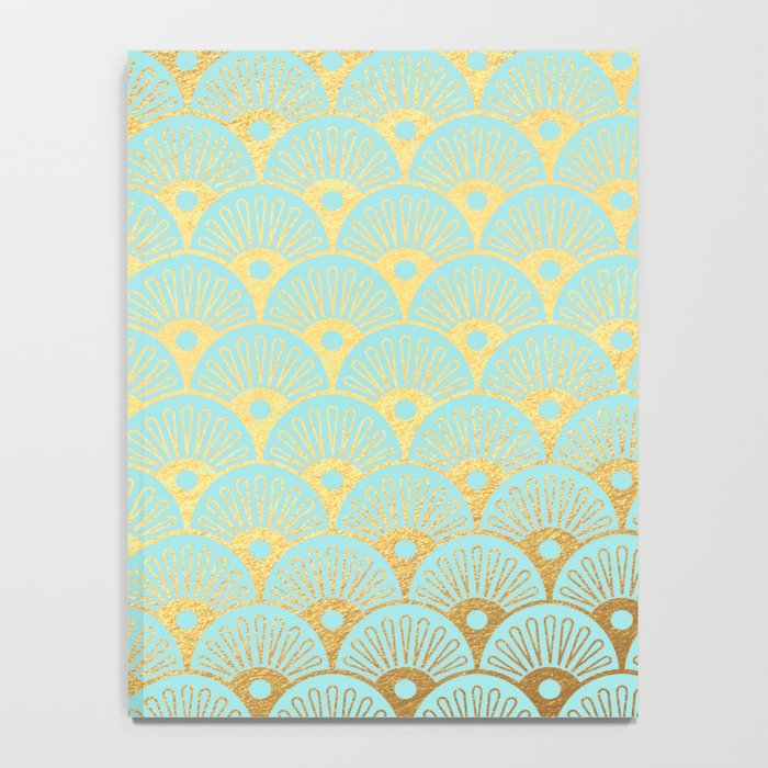 Art Deco Mermaid Scales Pattern on aqua turquoise with Gold foil effect Notebook