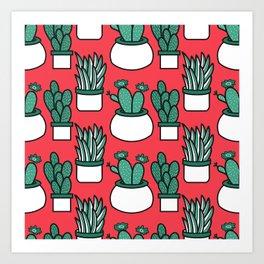 Cactus Neck Gator Red Succulents Cactus Art Print