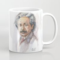 physics Mugs featuring Albert Einstein Watercolor Portrait by Olechka