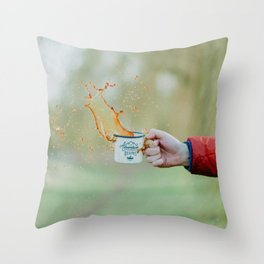 Spill the Coffee (Color) Throw Pillow