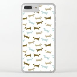 Dachshunds in blue and brown Clear iPhone Case