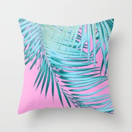 Palm Leaves Pink Blue Vibes #1 #tropical #decor #art #society6 Throw Pillow