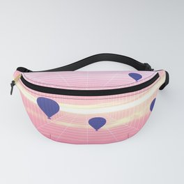 pink blue hot air balloons perspective grid aesthetic sky art photography Fanny Pack