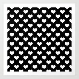 Black White Hearts Art Print