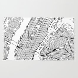 New York City White Map Rug