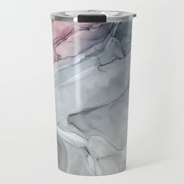 Pastel Blush, Grey and Blue Ink Clouds Painting Travel Mug