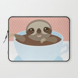 Sloth in a blue cup coffee, tea, Three-toed slot Laptop Sleeve