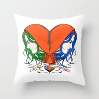 nietzsche Throw Pillows featuring Clementine's Heart by castlepöp