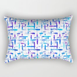 Blue brush stripes plaid on white Rectangular Pillow