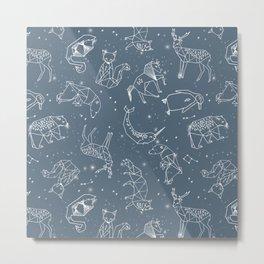 Origami Constellations - geometric animals constellations design - blue Metal Print