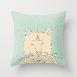 Cartoon cute cat think Throw Pillow