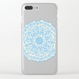 Pale Blue Pencil Pattern - hand drawn lace mandala Clear iPhone Case