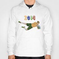 brazil Hoodies featuring Brazil 2014 by Lost Link Art