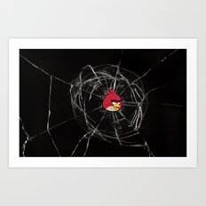 Angry Birds Breaking Glass Art Print
