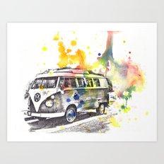 Classic Vw Volkswagen Bus Van Painting Art Print