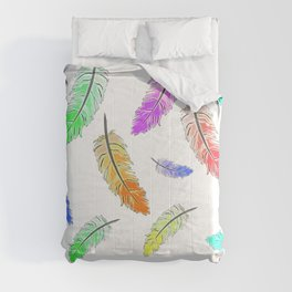 Colorful feather patterns, birds, feathers Comforters