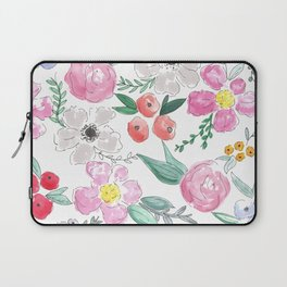 Floral Peony and Rose Watercolor Print  Laptop Sleeve