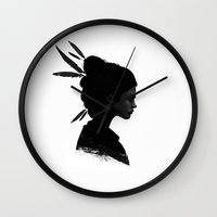 city Wall Clocks featuring Never Never by Ruben Ireland