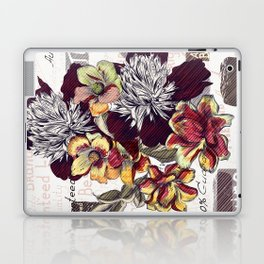 Beautiful illustration with peony flowers in vintage style Laptop & iPad Skin