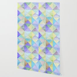 Watercolors triangles and squares, multicolored ornament, purple blue lilac green br Wallpaper