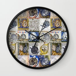 Medieval Cats Licking Their Butts Wall Clock