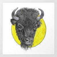 bison Art Prints featuring Bison by Triple_S_Art