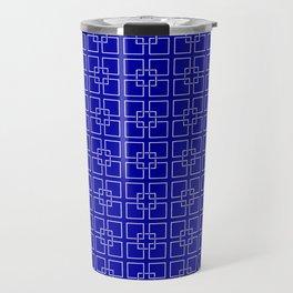 Dark Earth Blue and White Interlocking Square Pattern Travel Mug