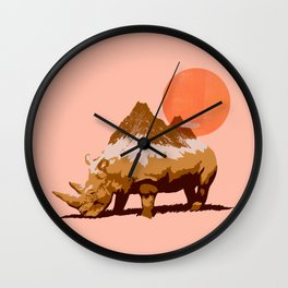 Abstraction_SUN_RHINO_MOUNTAINS_PEAK_POP_ART_010AR Wall Clock