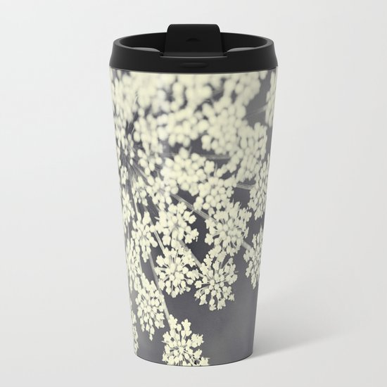 Black and White Queen Annes Lace Travel Mug