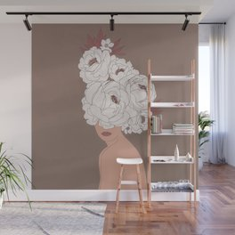 Woman with Peonies Wall Mural