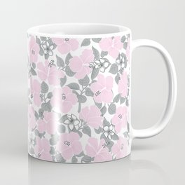 Hibiscus and Plumeria Pink-Gray Coffee Mug