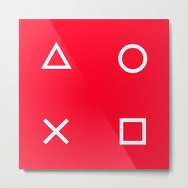 Red Gamer Pattern Metal Print