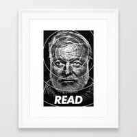 hemingway Framed Art Prints featuring Hemingway  by Ugly Borealis